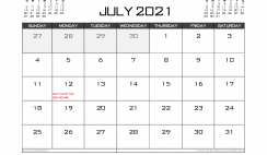 Printable July 2021 Calendar UK