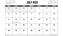 July 2021 Calendar UK Printable