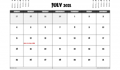Free July 2021 Calendar UK Printable