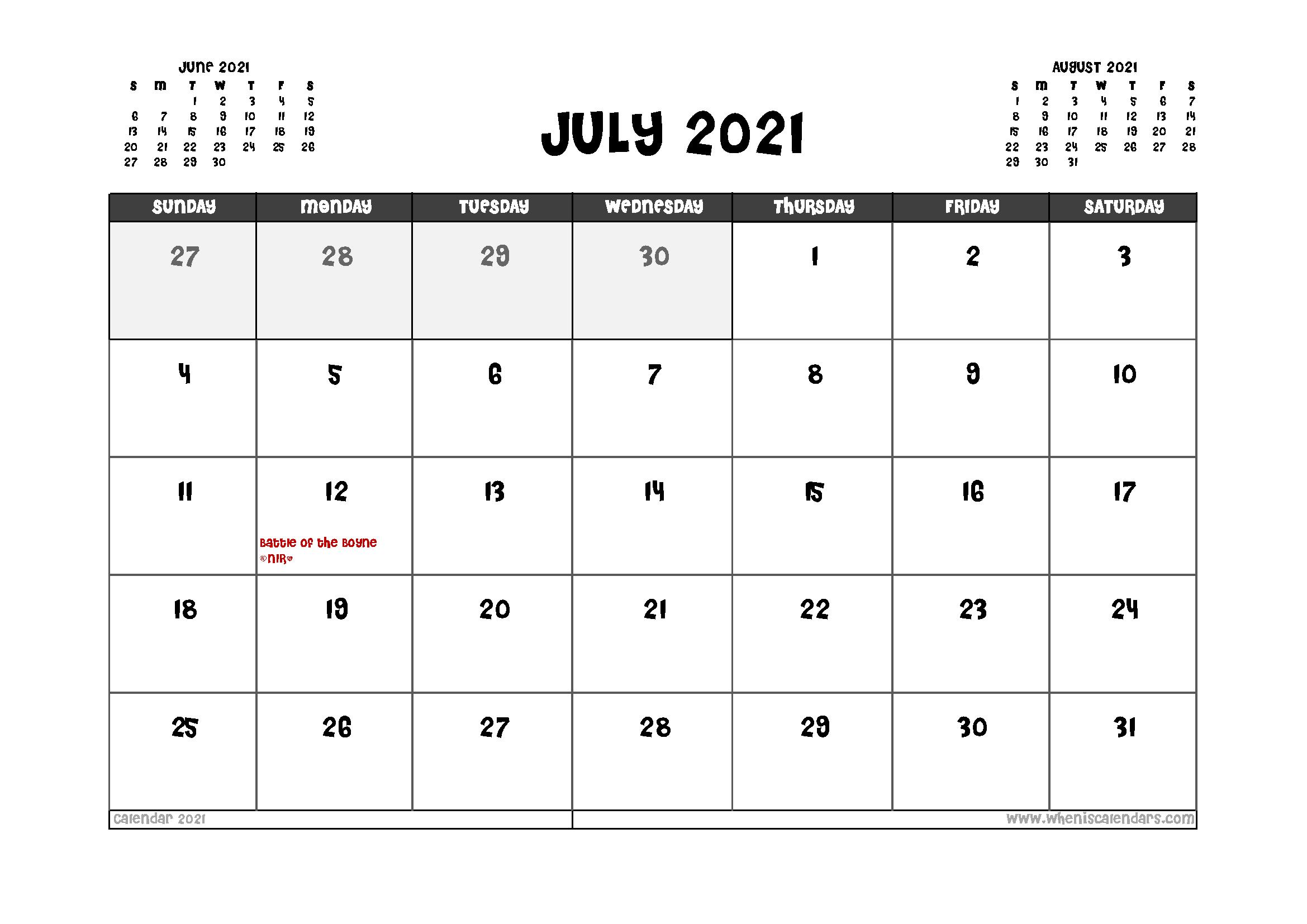 Printable July 2021 Calendar UK