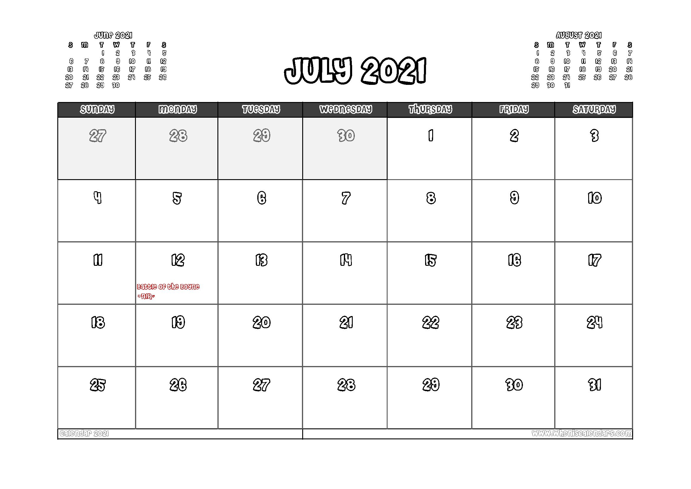 Free Printable July 2021 Calendar UK