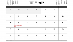 Free Printable July 2021 Calendar UK