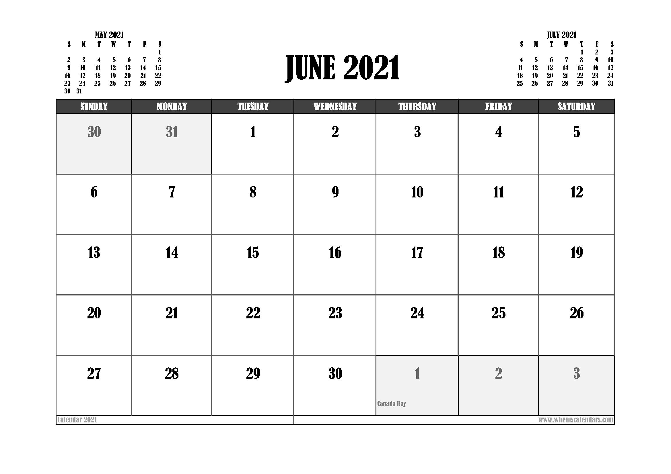Free Printable June 2021 Calendar Canada