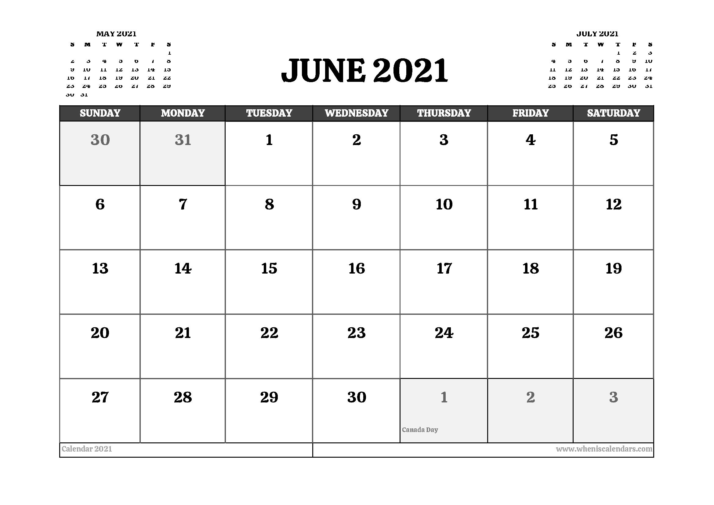 Printable June 2021 Calendar Canada
