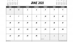 June 2021 Calendar Canada Printable