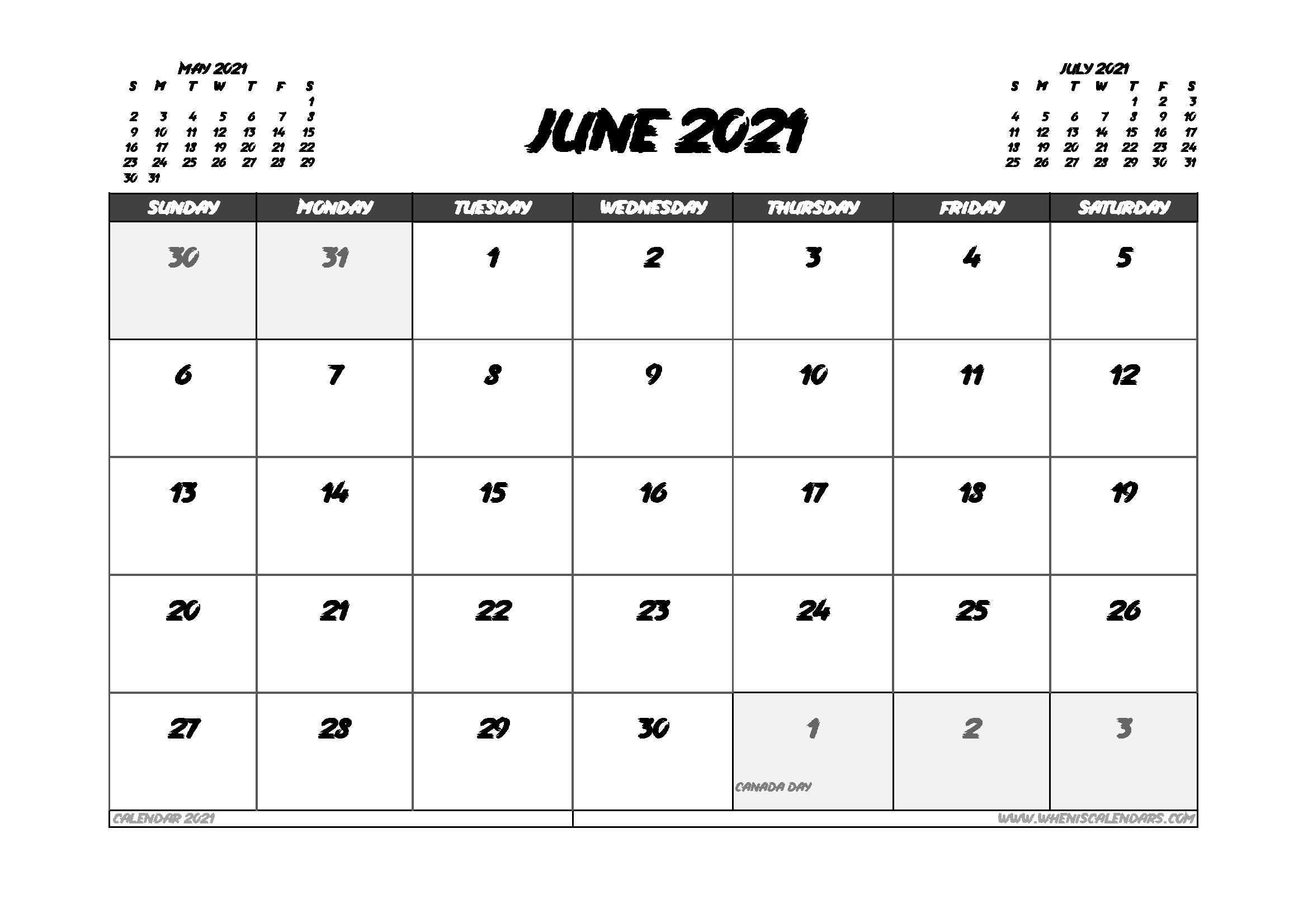 June 2021 Calendar Canada with Holidays