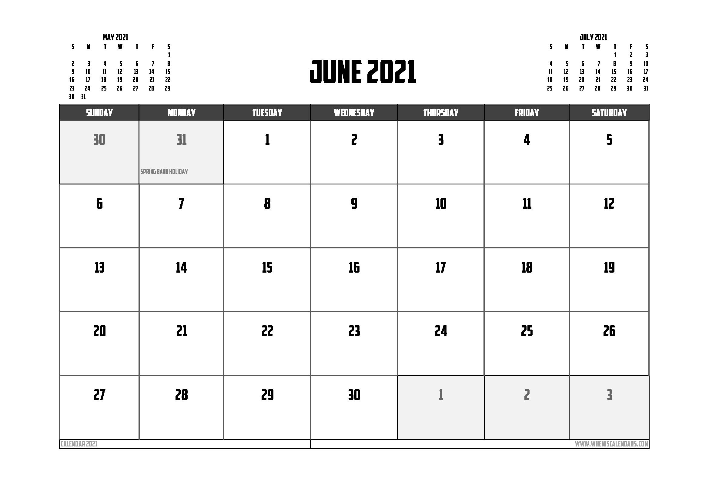 Free Printable June 2021 Calendar UK