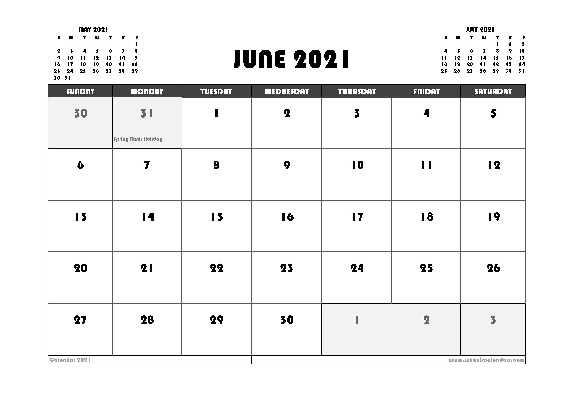 Free June 2021 Calendar UK Printable