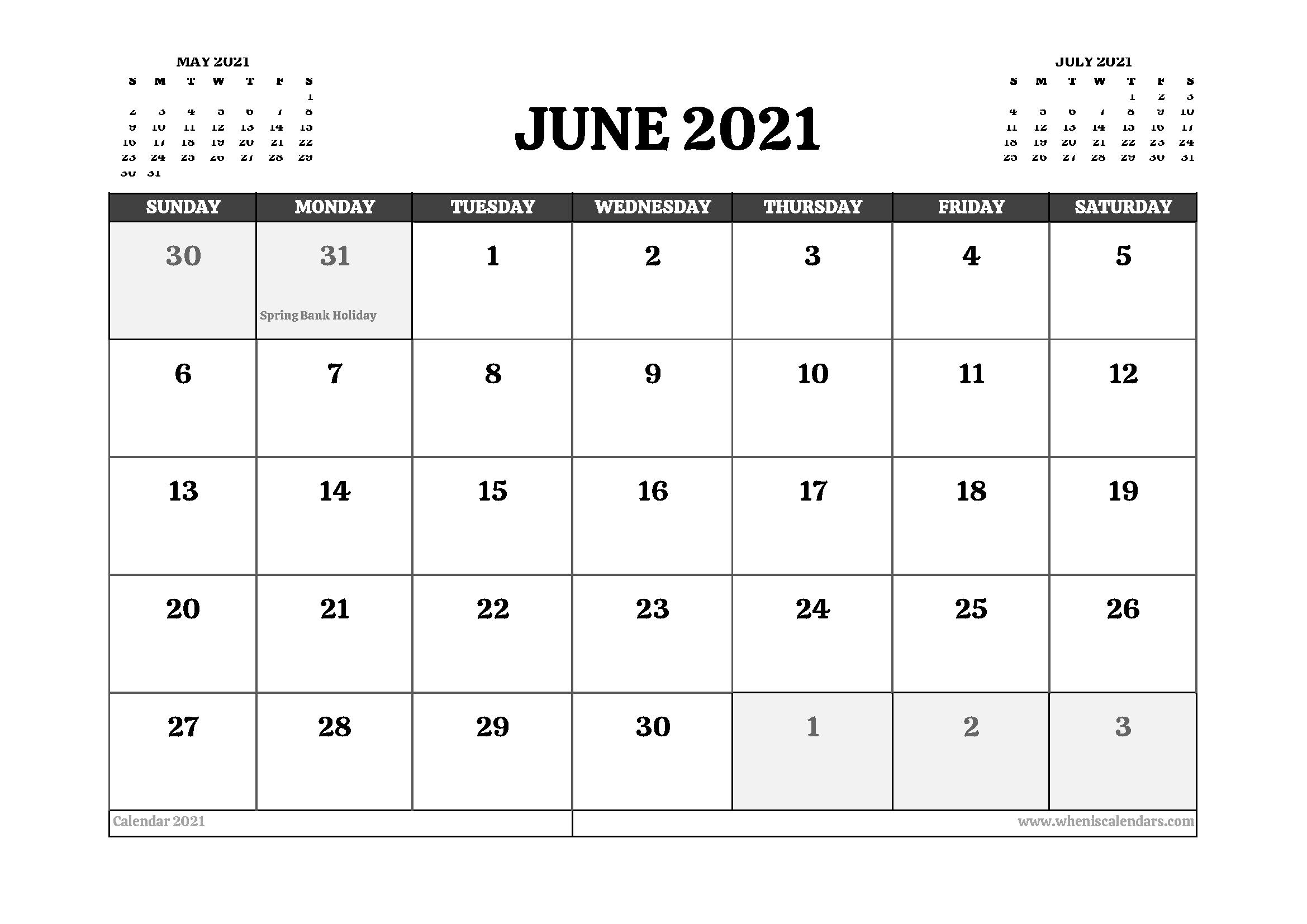 Printable June 2021 Calendar UK