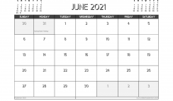 June 2021 Calendar UK Printable