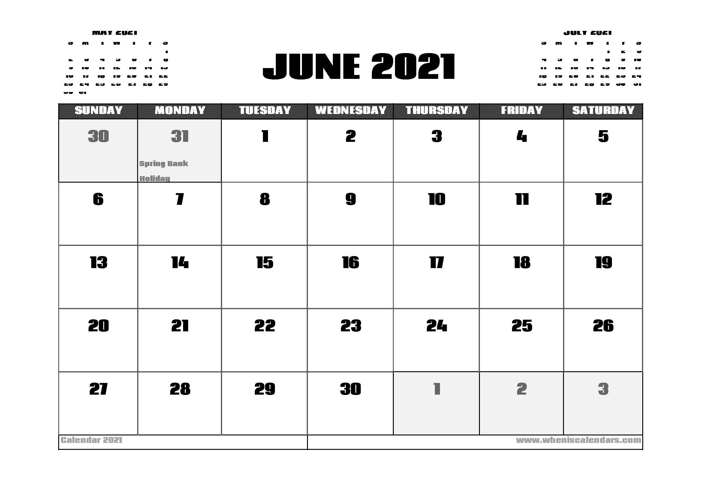 June 2021 Calendar UK with Holidays