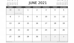 Free June 2021 Calendar UK Printable