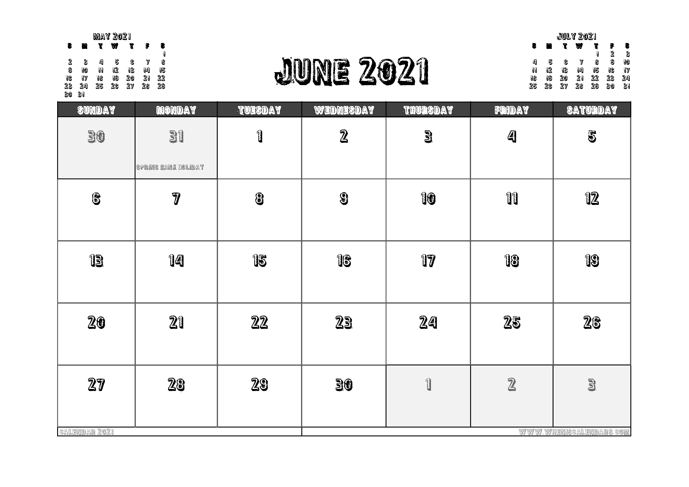Free Printable June 2021 Calendar UK