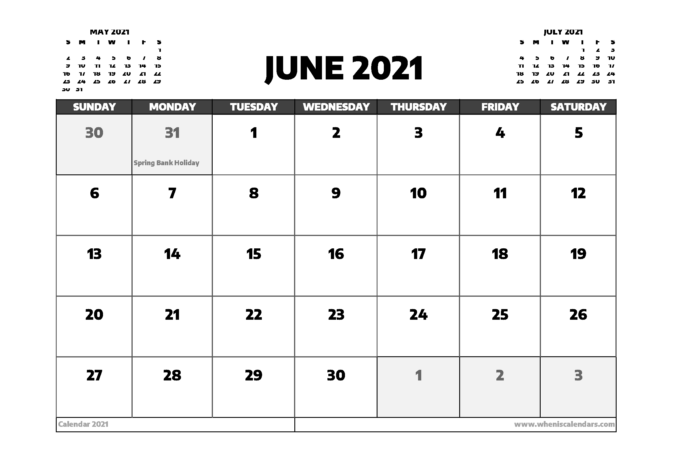 June 2021 Calendar UK with Holidays