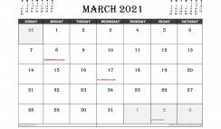 March 2021 Calendar Canada Printable