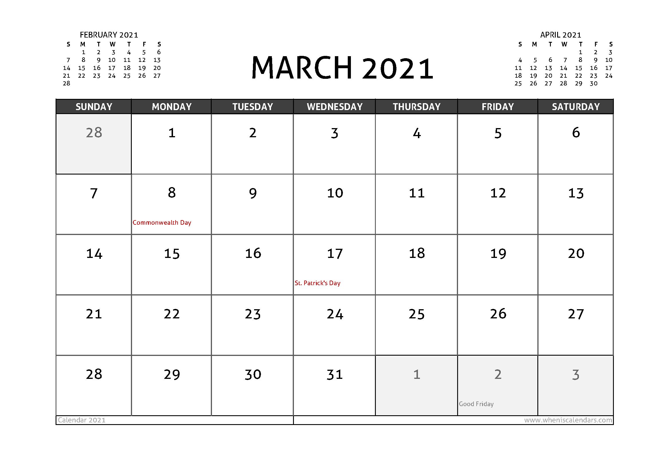 March 2021 Calendar Canada with Holidays