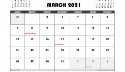 Free March 2021 Calendar Canada Printable