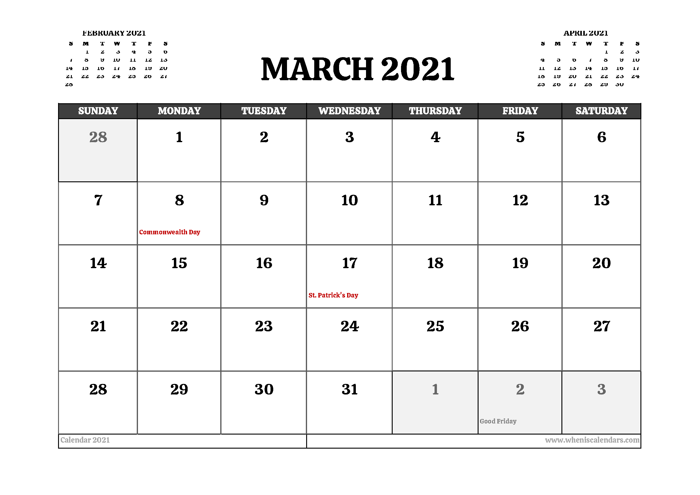 Printable March 2021 Calendar Canada