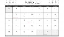 Free Printable March 2021 Calendar Canada