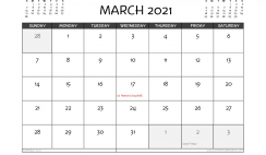 Free Printable March 2021 Calendar UK