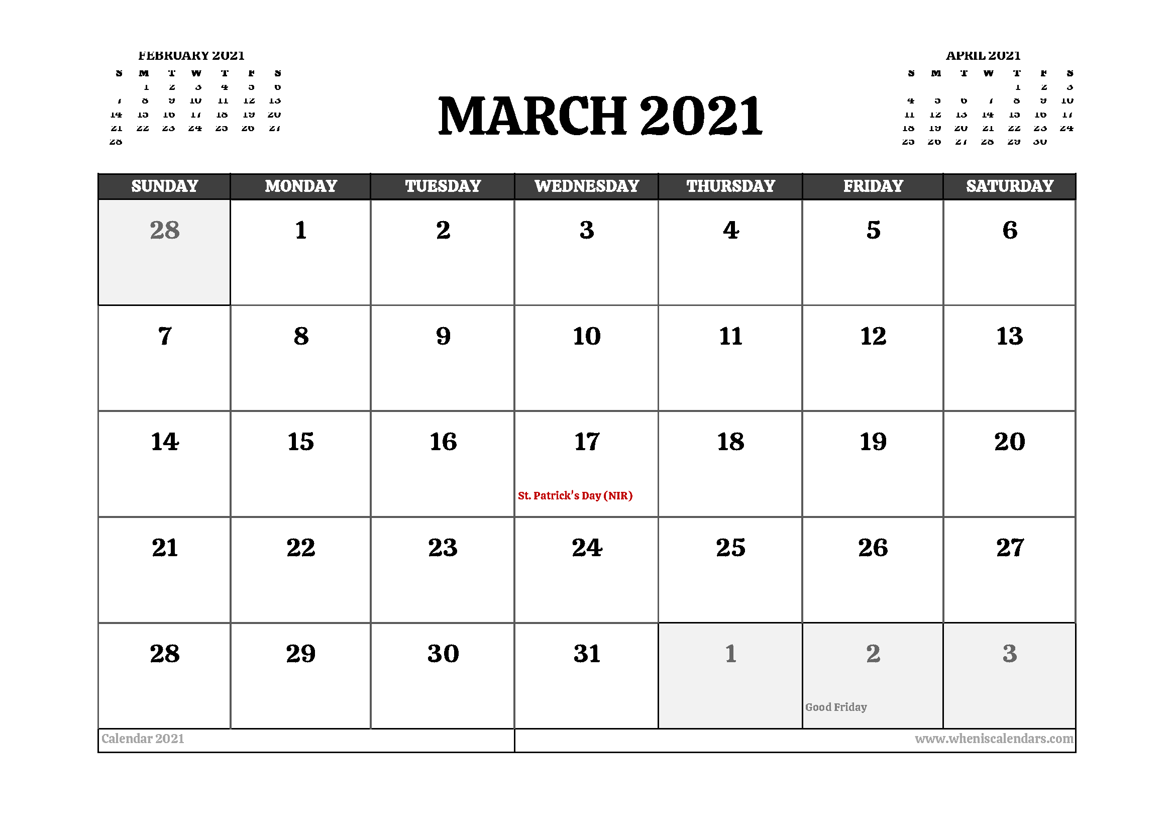 Printable March 2021 Calendar UK