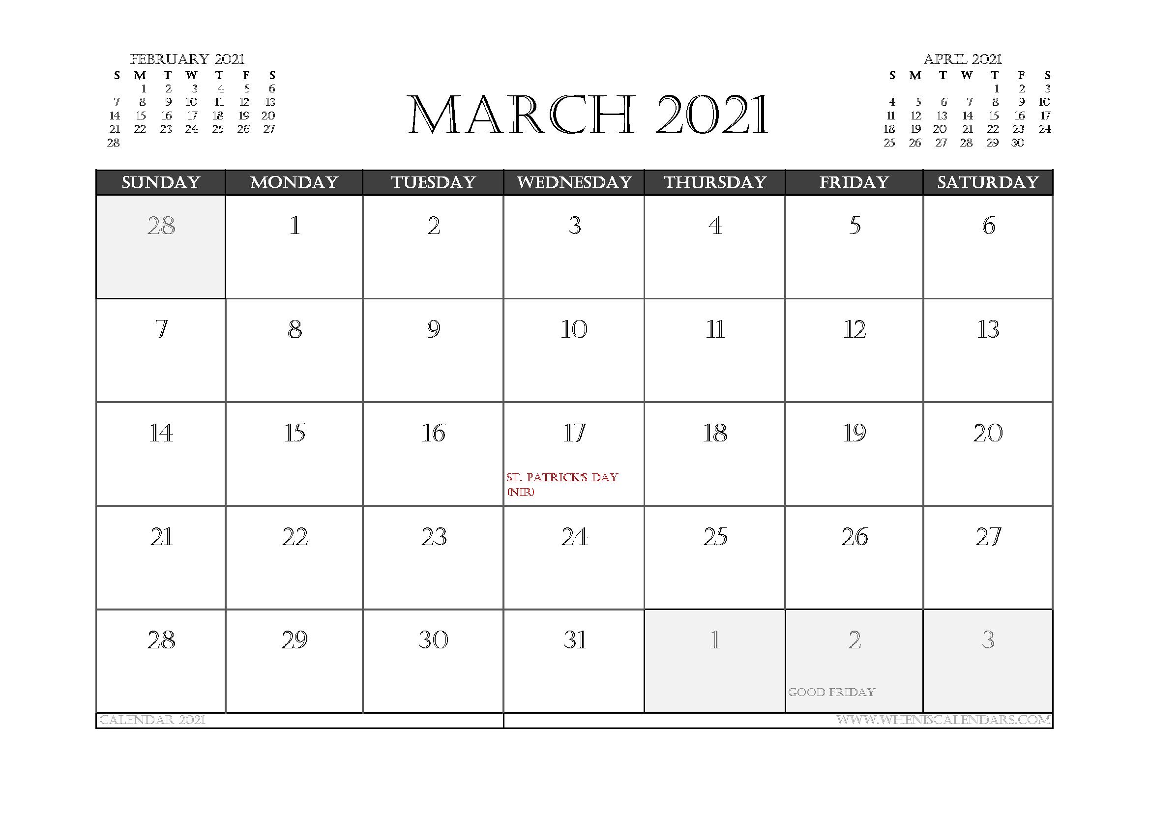 March 2021 Calendar UK Printable