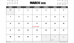 Free March 2021 Calendar UK Printable