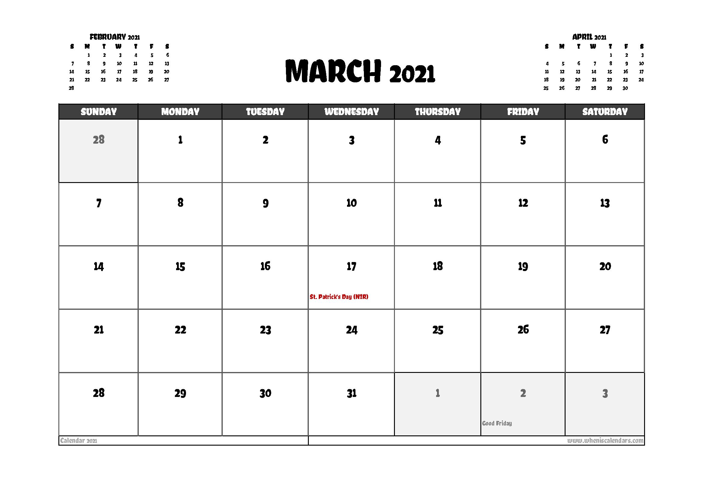 Free March 2021 Calendar UK Printable