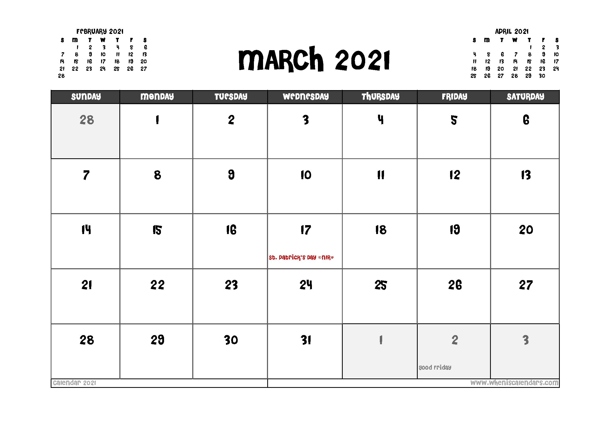 Printable March 2021 Calendar UK