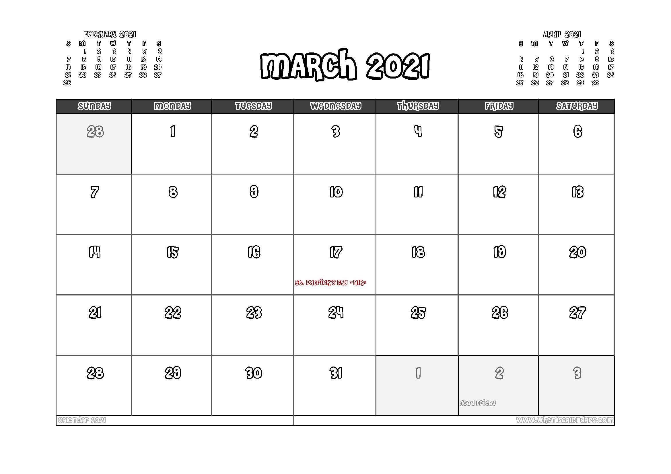 Free Printable March 2021 Calendar UK