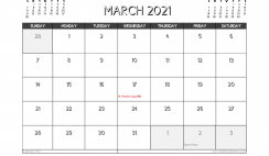 March 2021 Calendar UK Printable