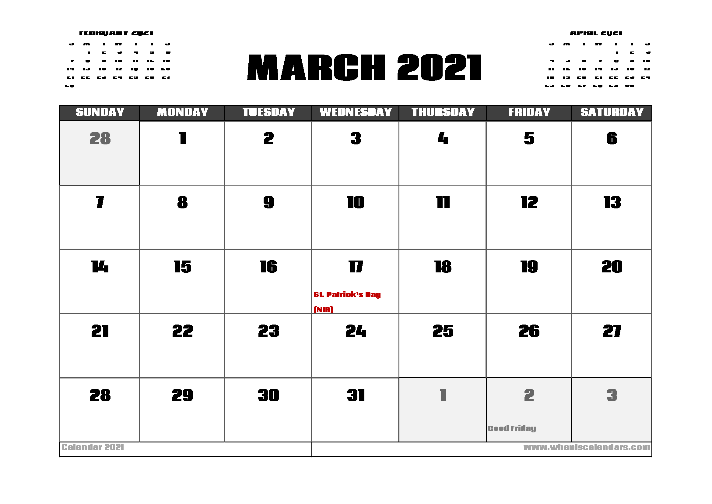 March 2021 Calendar UK with Holidays