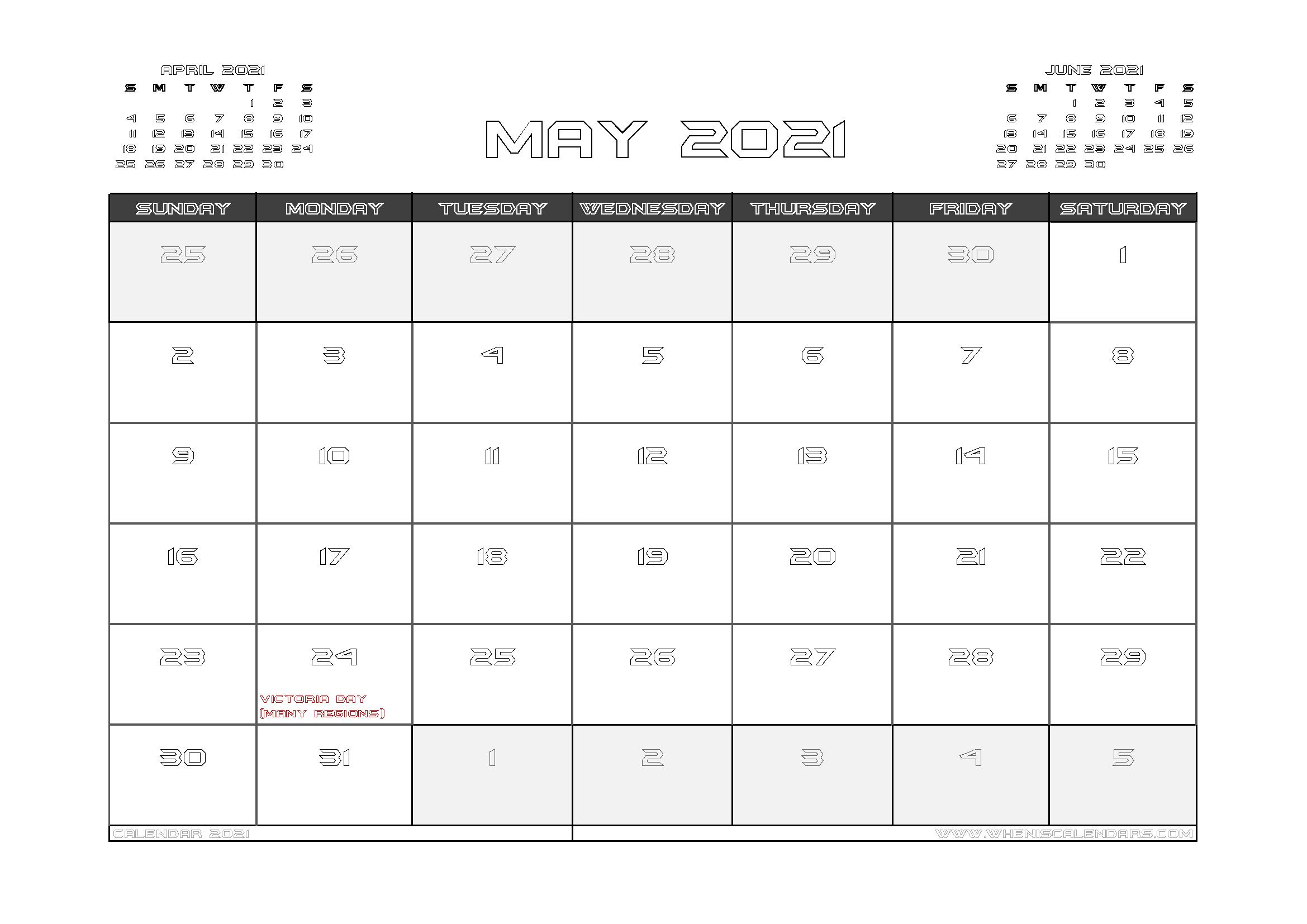 May 2021 Calendar Canada with Holidays