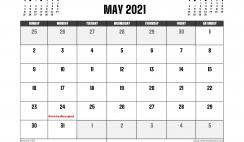 May 2021 Calendar Canada Printable