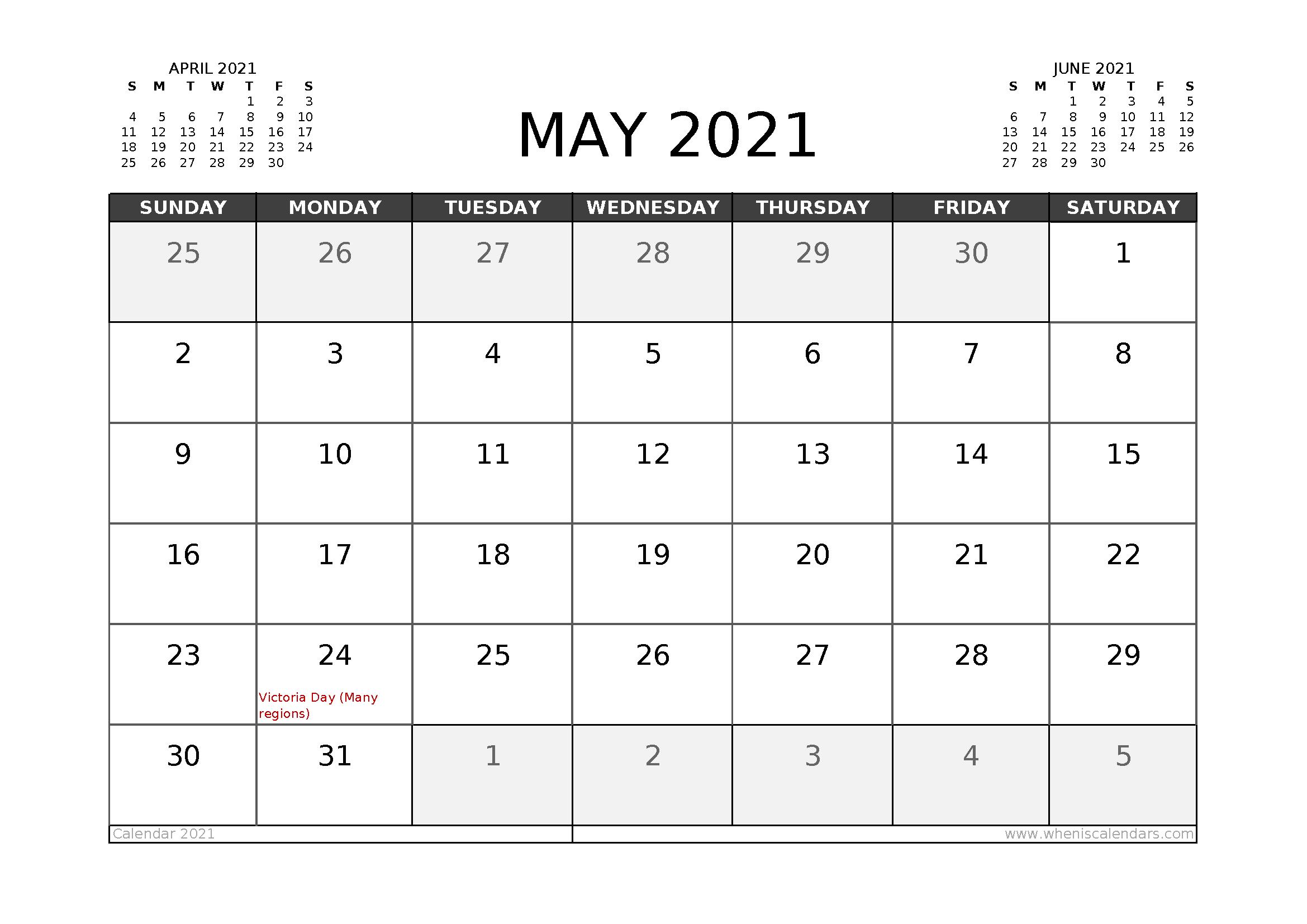 Free May 2021 Calendar Canada Printable