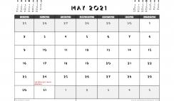 Printable May 2021 Calendar Canada