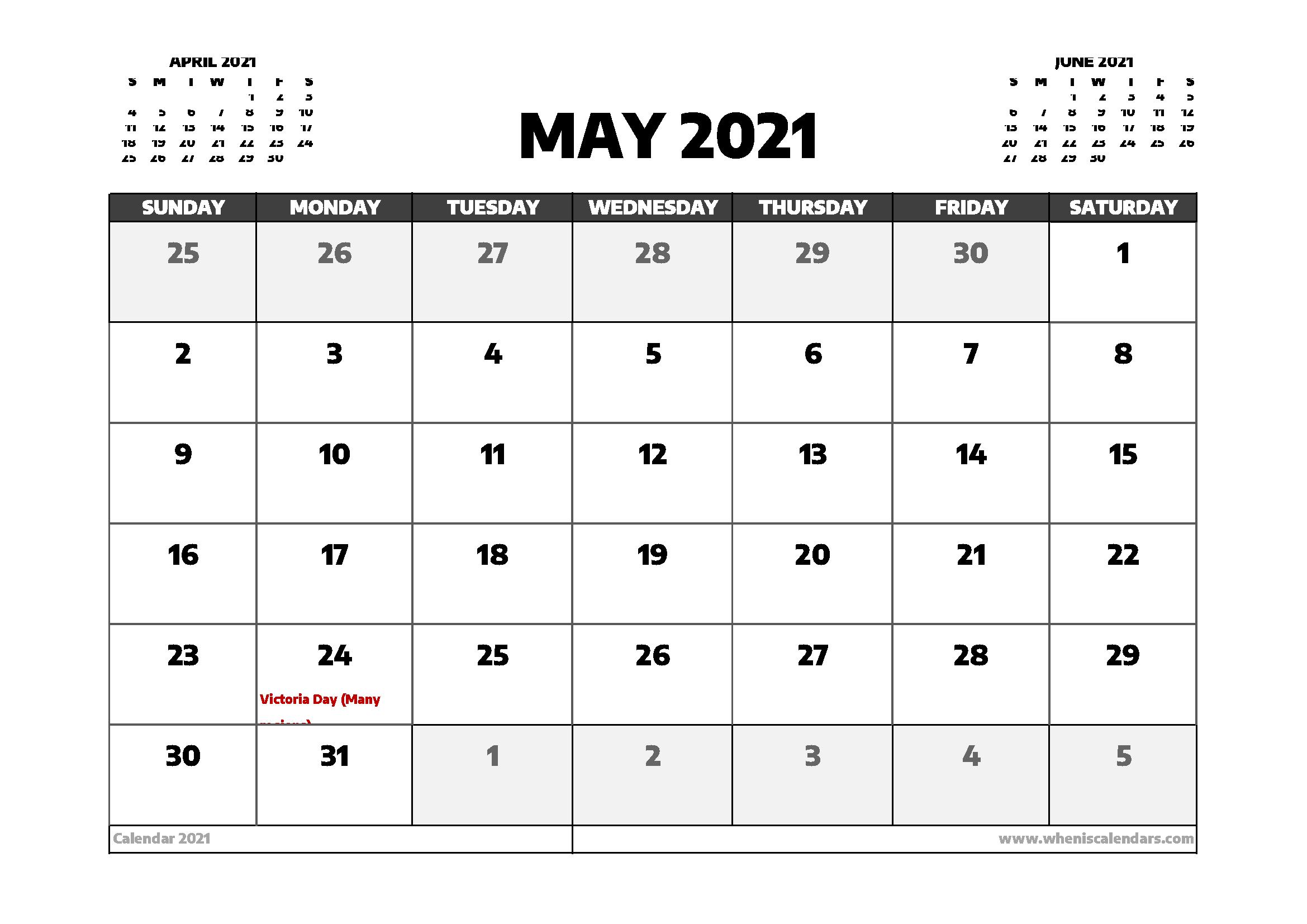 May 2021 Calendar Canada with Holidays - Free Printable ...