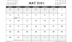 May 2021 Calendar UK Printable