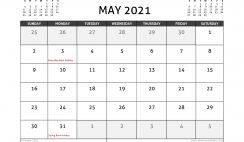 May 2021 Calendar UK with Holidays