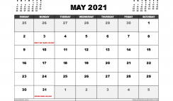 Free May 2021 Calendar UK Printable