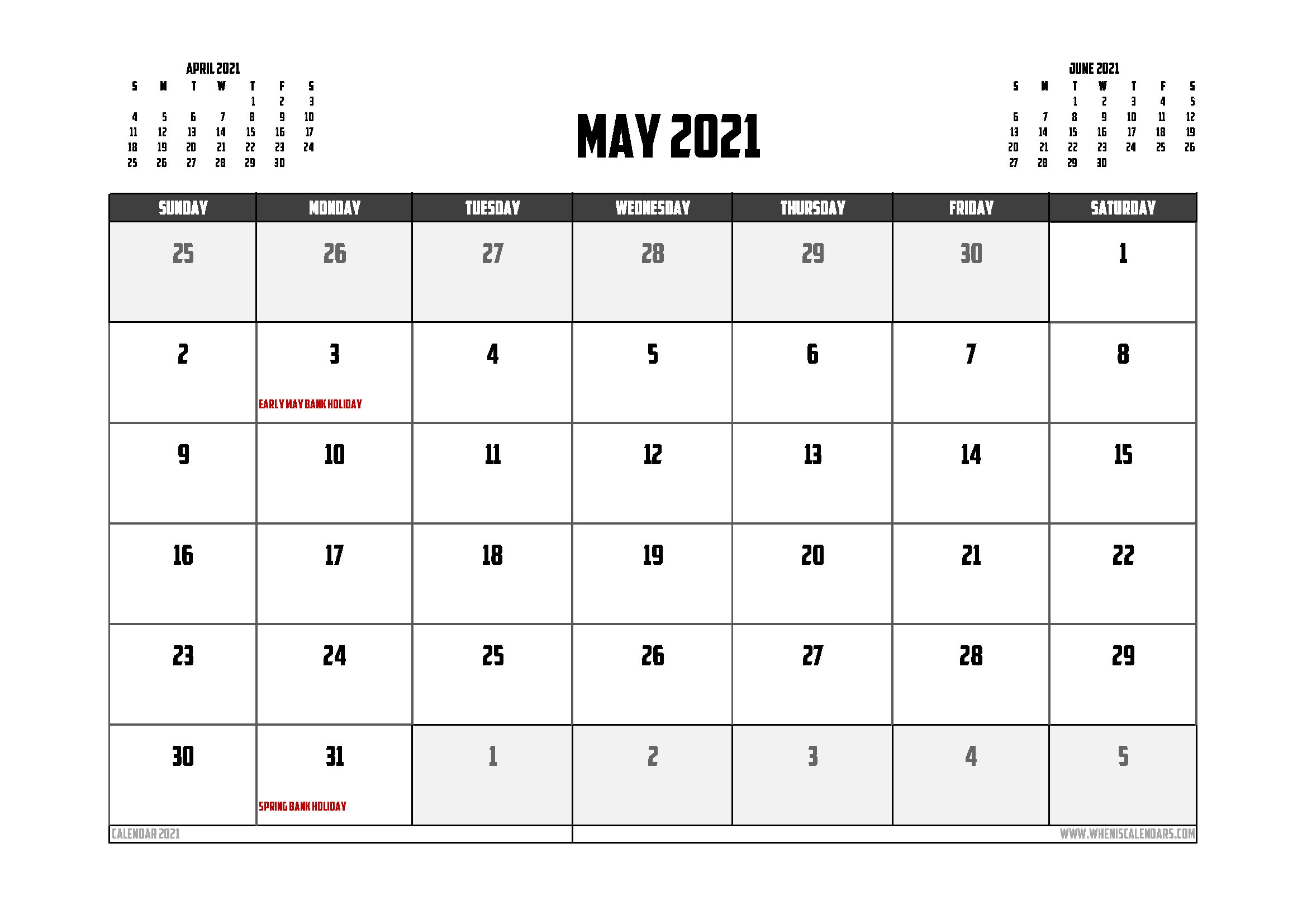 Free Printable May 2021 Calendar UK