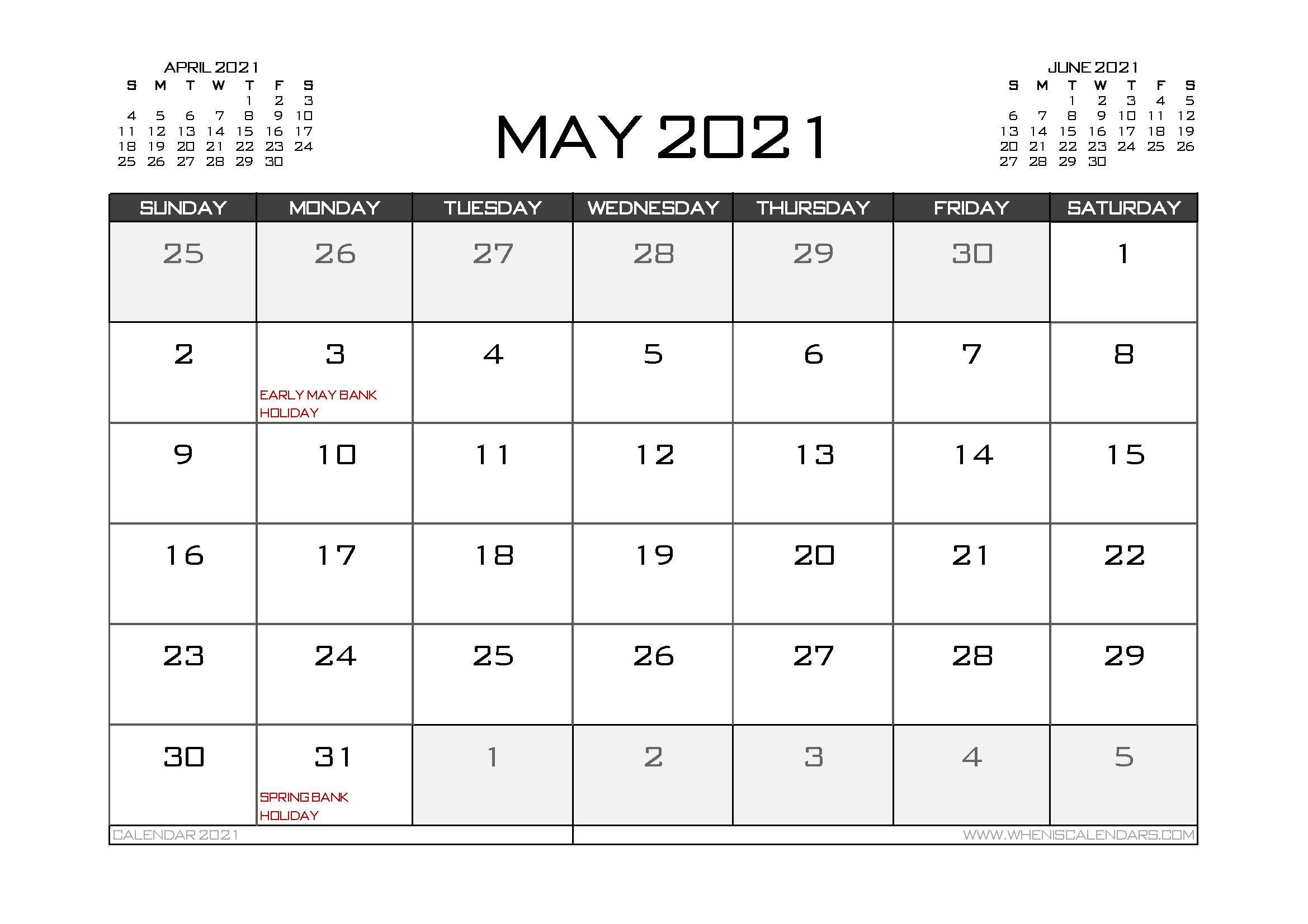 Printable May 2021 Calendar UK