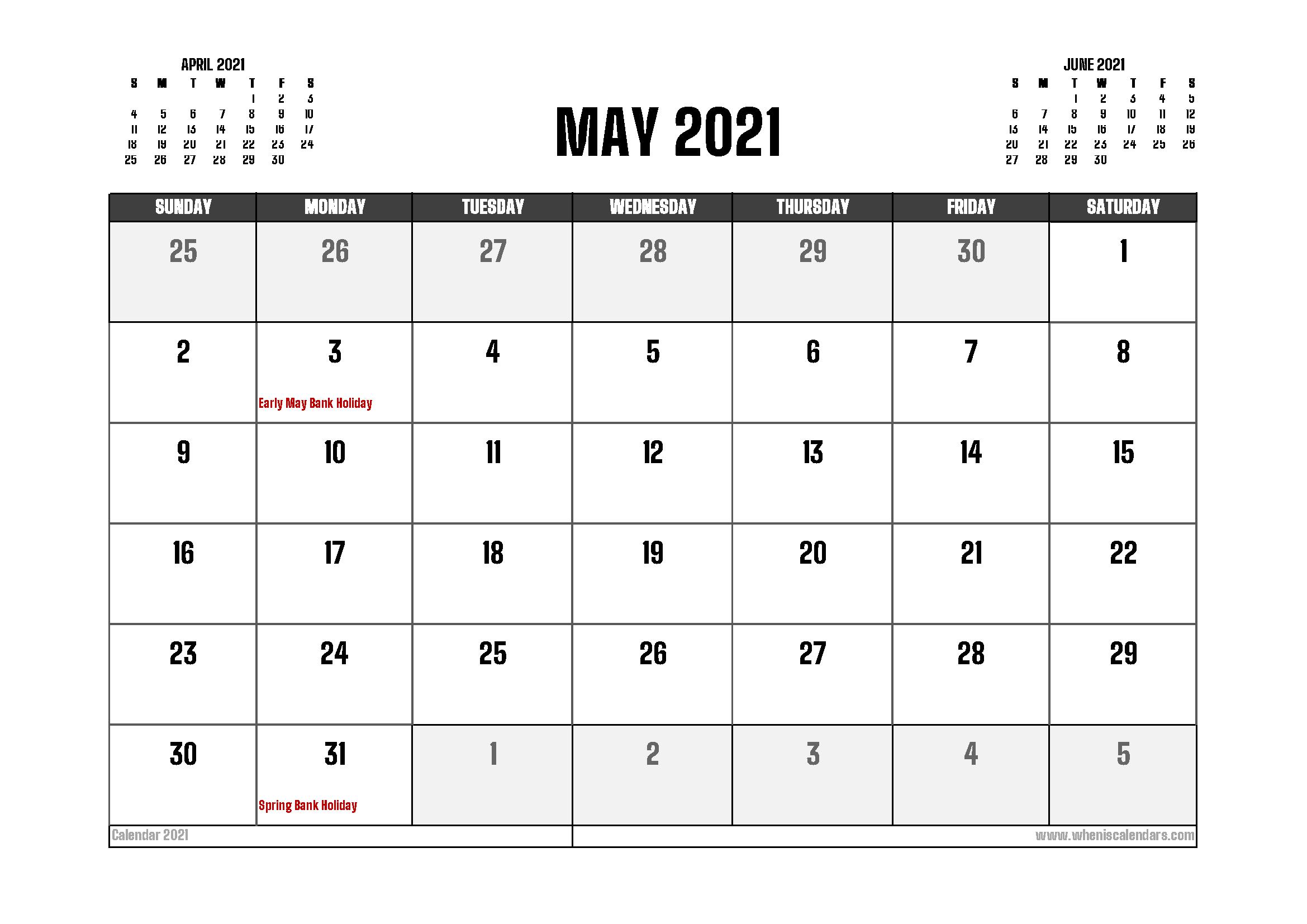 May 2021 Calendar UK Printable