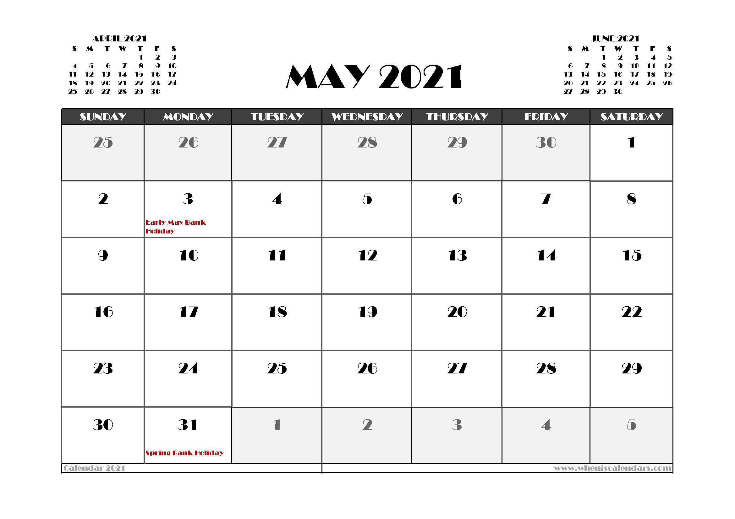 Free May 2021 Calendar UK Printable