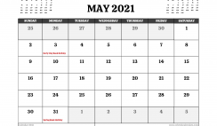 Printable May 2021 Calendar UK