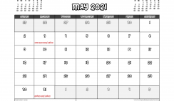 Free Printable May 2021 Calendar UK