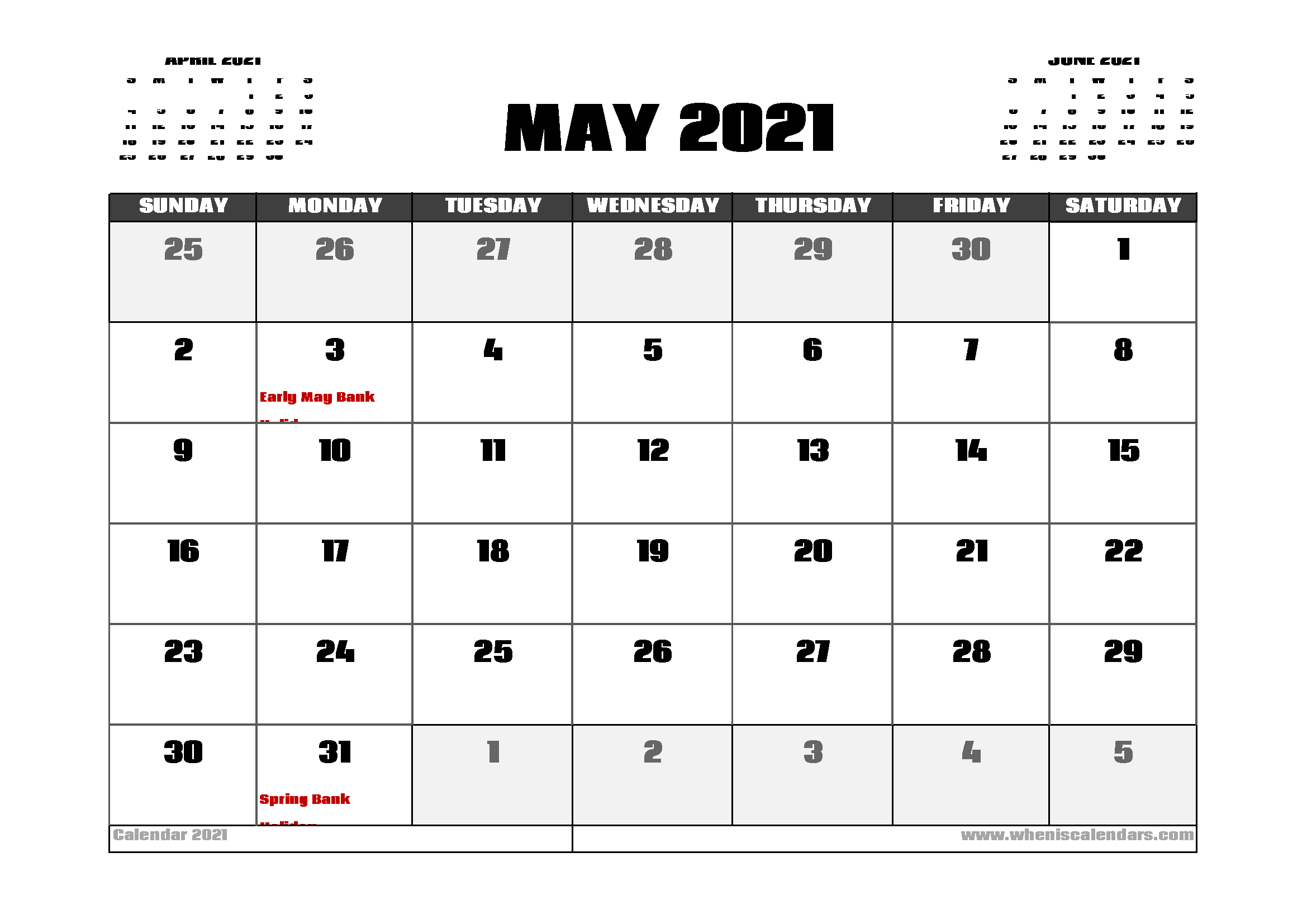 May 2021 Calendar UK with Holidays