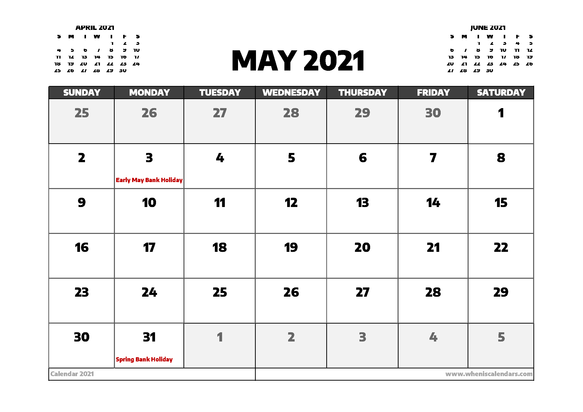 May Calendar 2021 Uk - April 2021