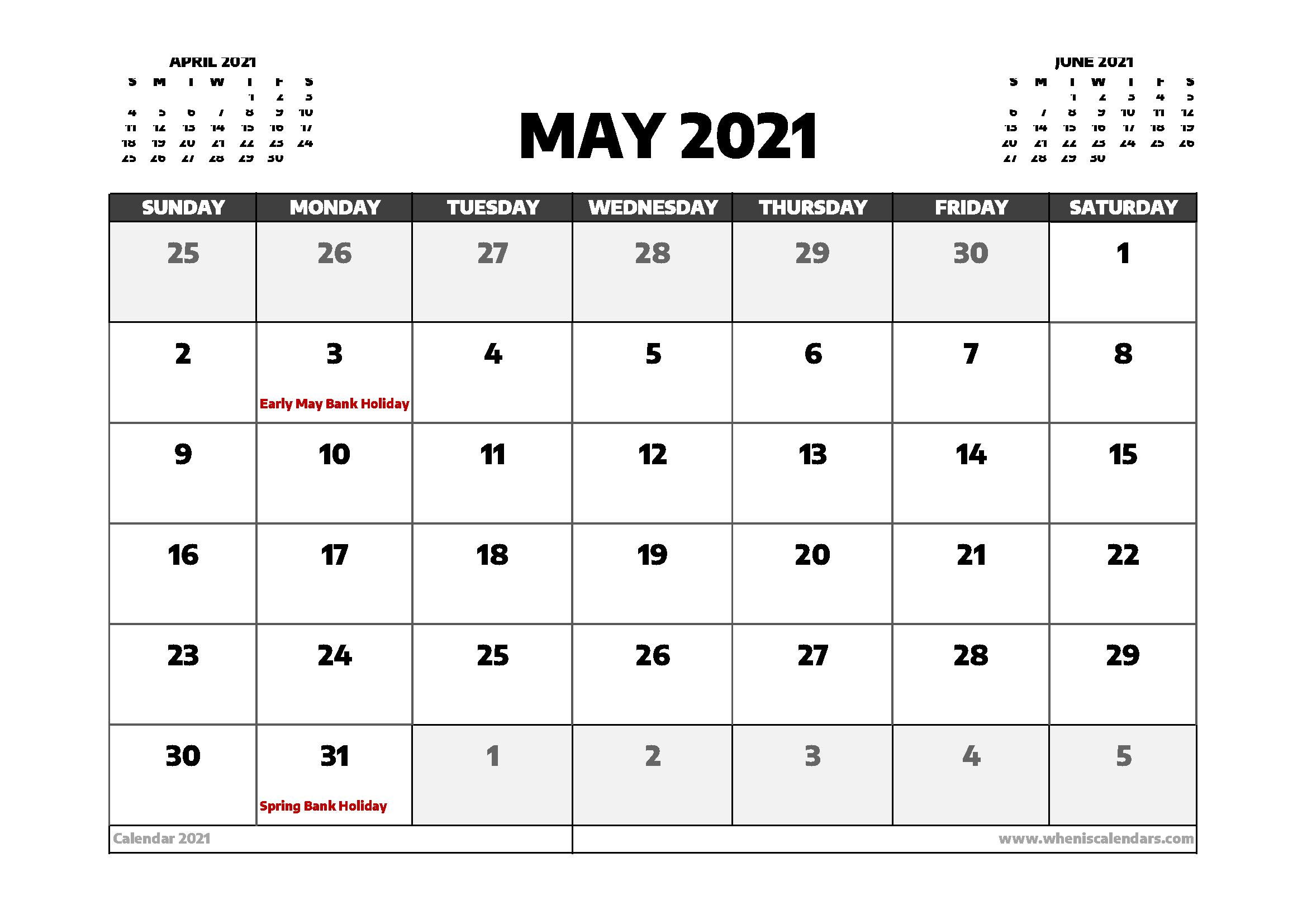 May Calendar 2021 Uk - April 2021