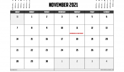 Free Printable November 2021 Calendar Canada
